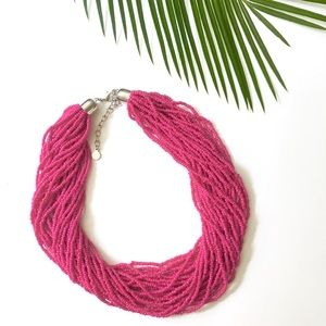 💗BaubleBar Pink Twisted Bead Necklace
